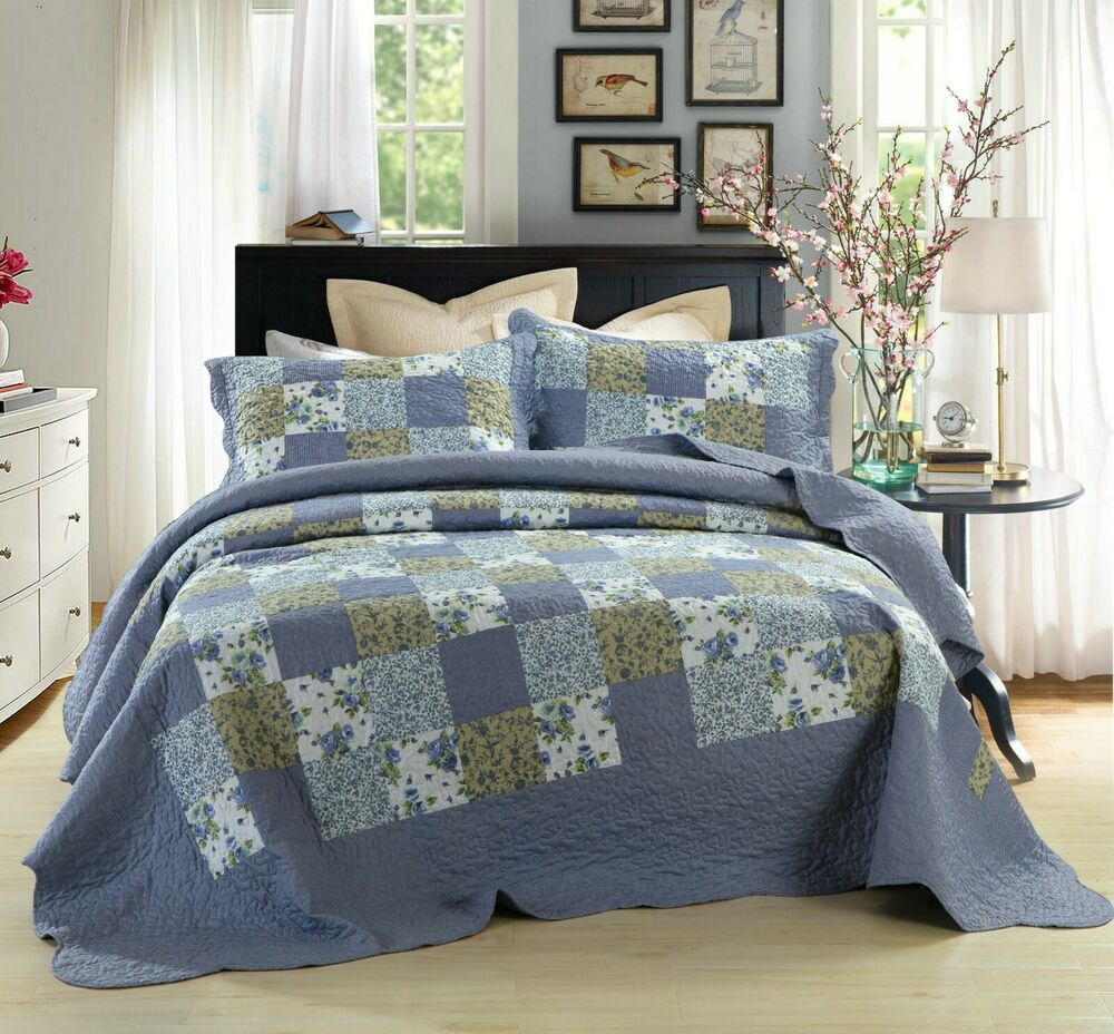 Dada Bedding Blue Berry Cottage Floral Patchwork Quilted