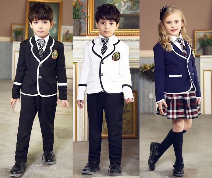 British Style Kid Boy Girl School Uniform Outfit Sets ...