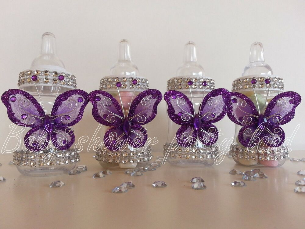 12 purple fillable butterfly bottles baby shower favors for Baby shower favors decoration