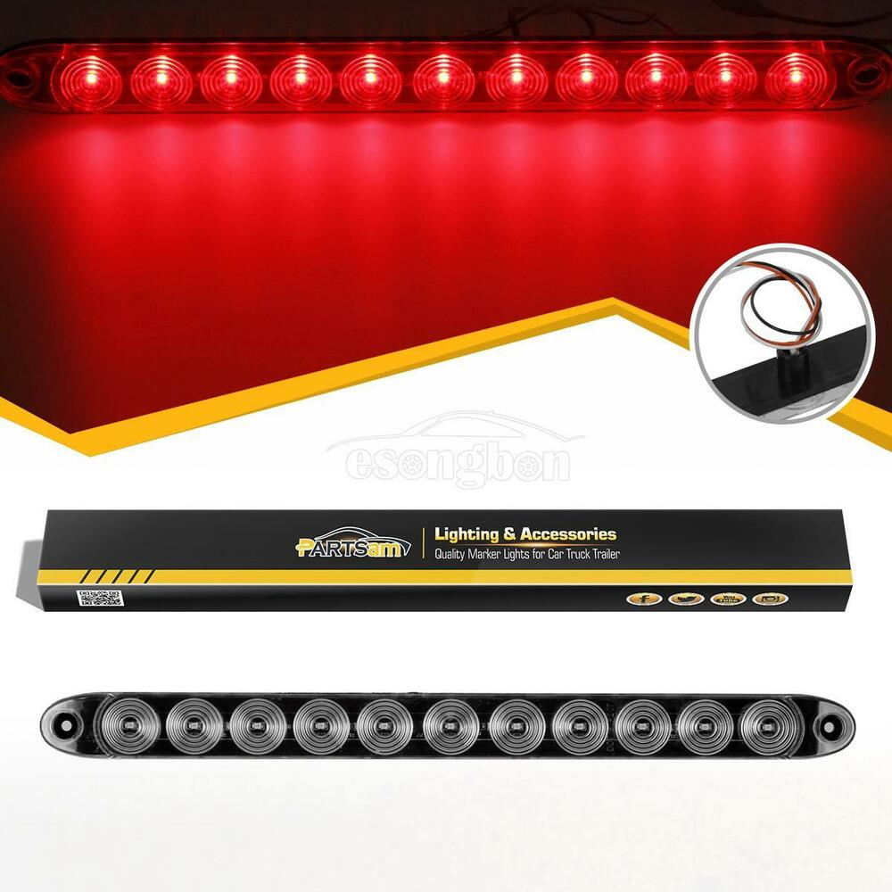 1xtrailer Truck 11 Led 15 Quot Clear Red Rear Tail Brake Light