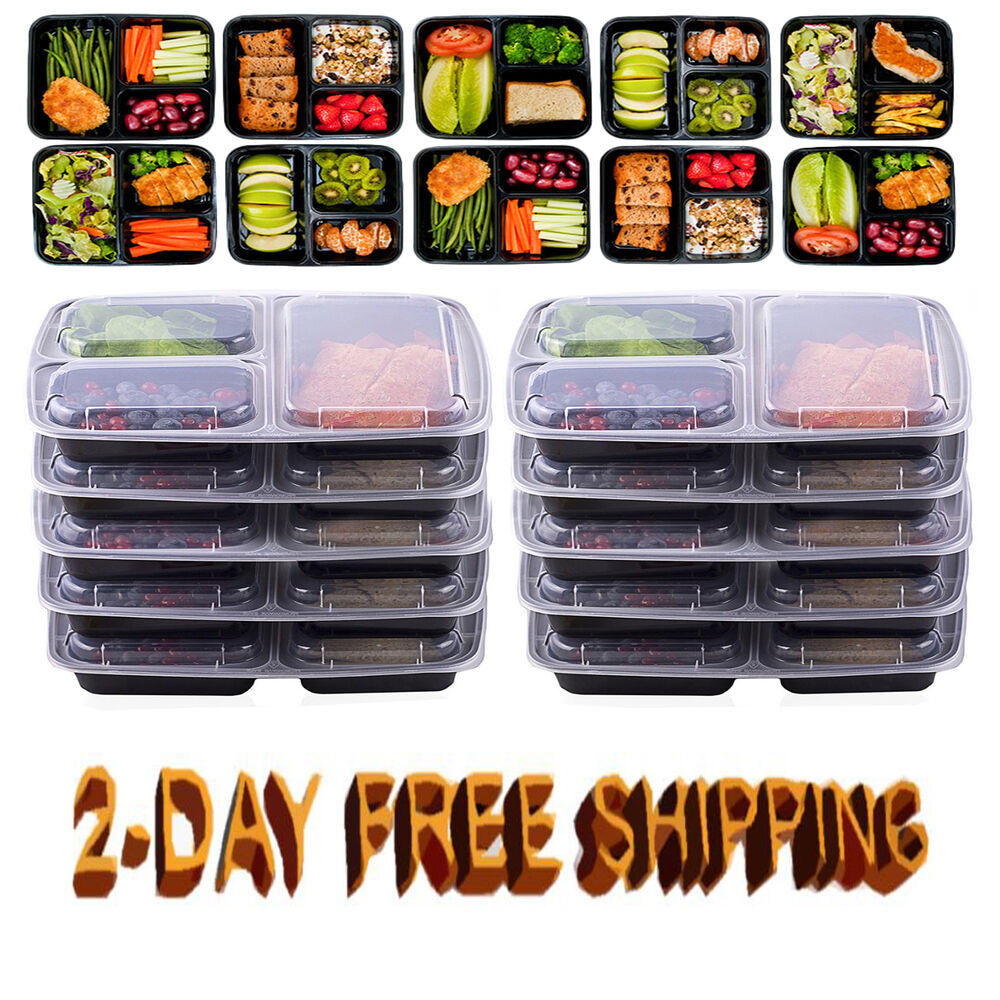 10 meal prep containers plastic food storage reusable microwavable 3 compartment ebay. Black Bedroom Furniture Sets. Home Design Ideas