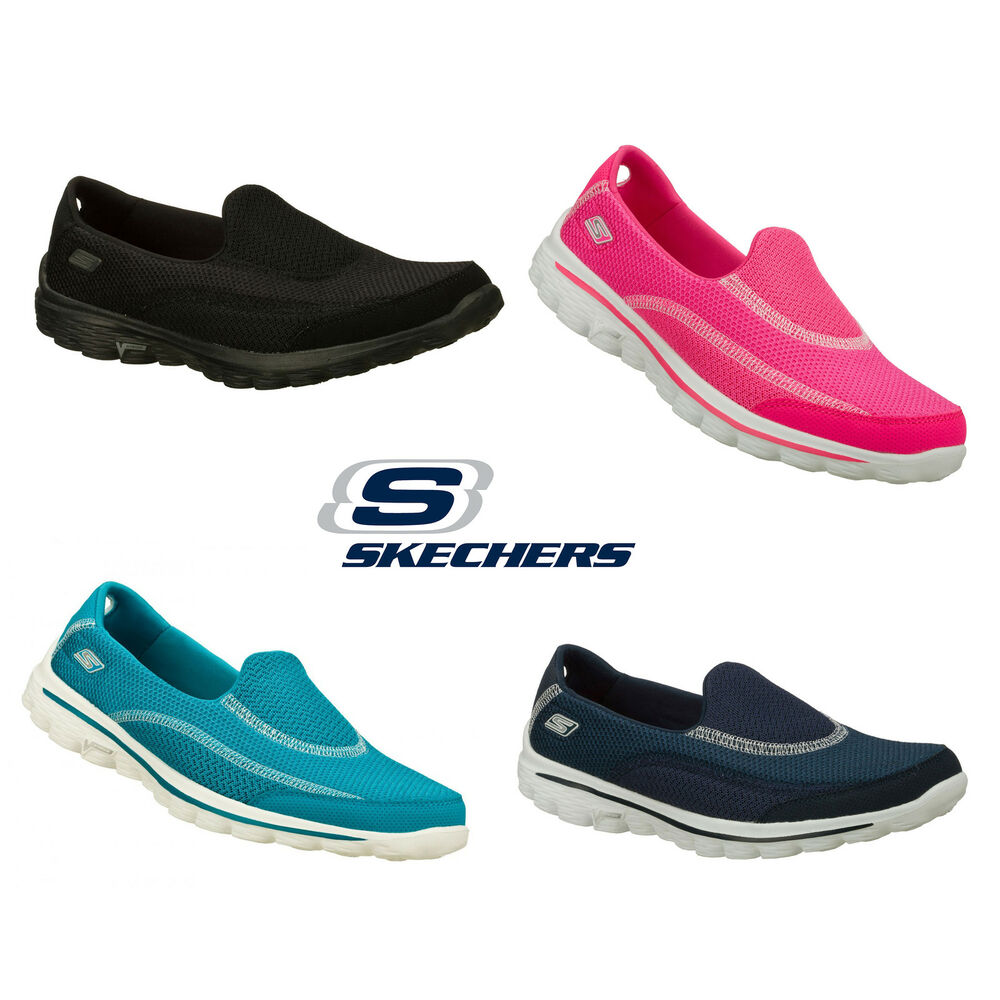 womens skechers go walk slip on trainers ladies comfort. Black Bedroom Furniture Sets. Home Design Ideas