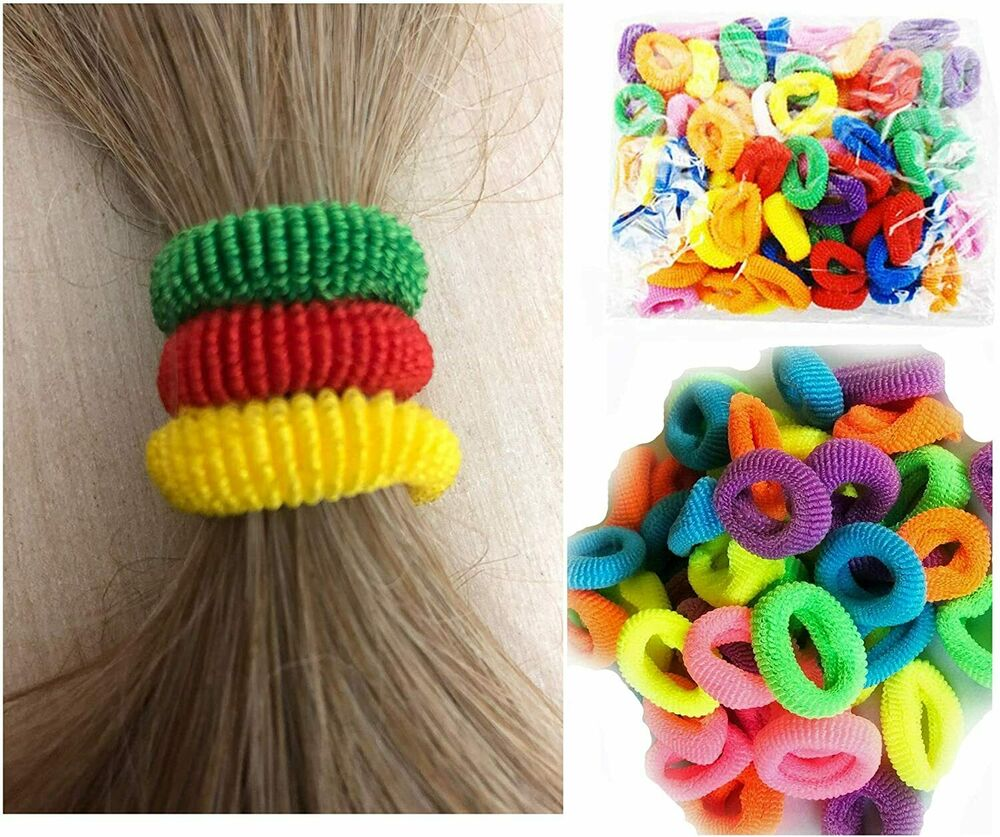 60 Hair Band Bobbles Mini Elastic Band Crunchy Kids Ponytail Hair Ties Stretchy Women's Accessories