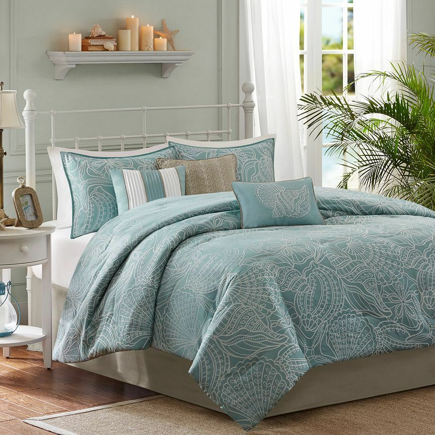 Nautical Bedding King: BEAUTIFUL NAUTICAL SEA BEACH HOUSE COAST LIGHT BLUE BOAT