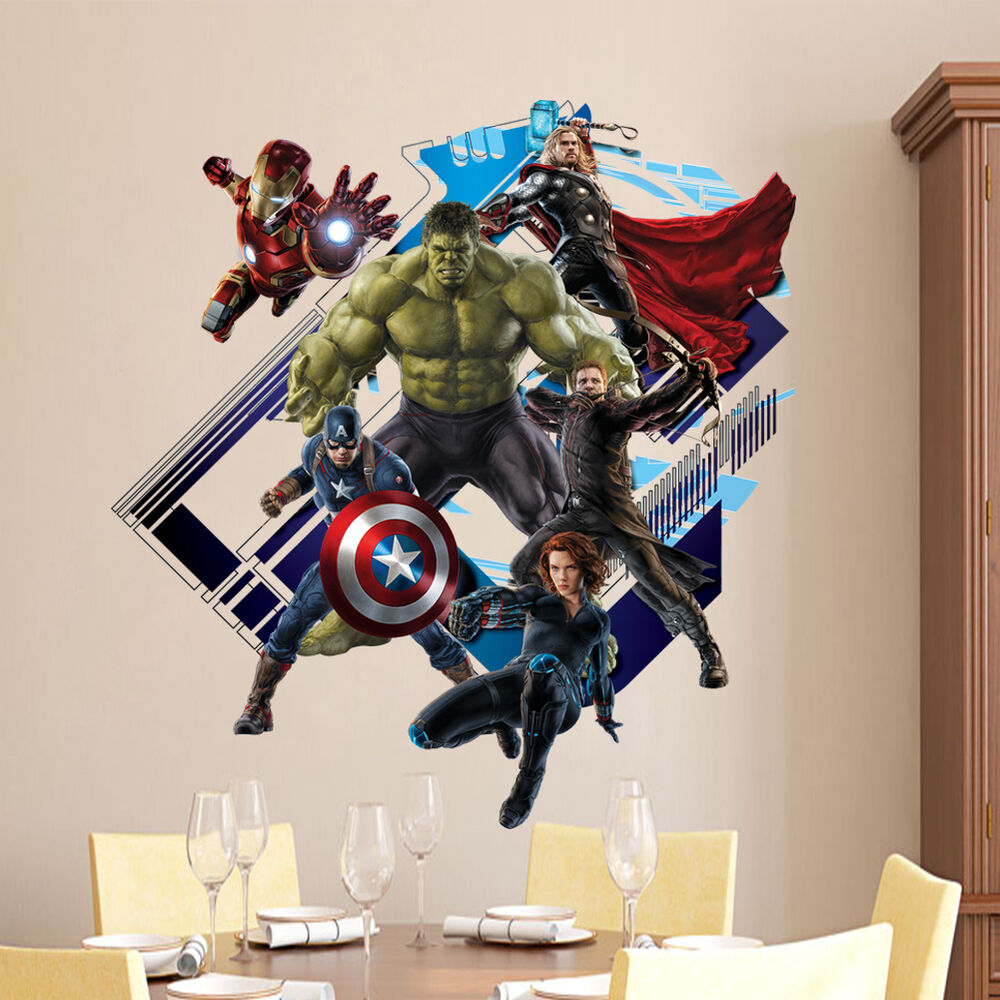 Removable 3D The Avengers Hulk Ultron Kids Wallpaper Wall