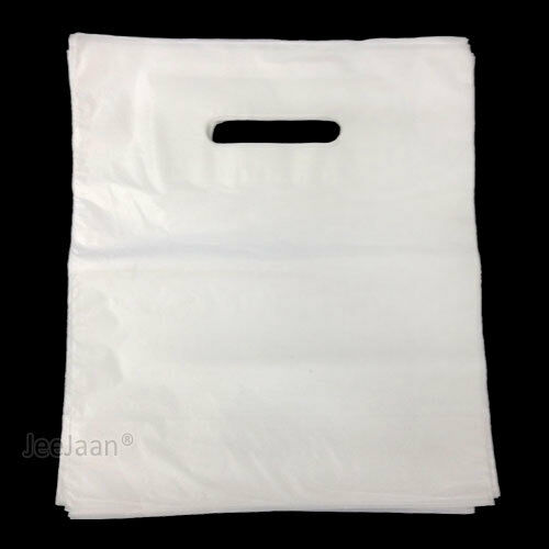 100 White Patch Handle Carrier Gift Shopping Plastic Bags