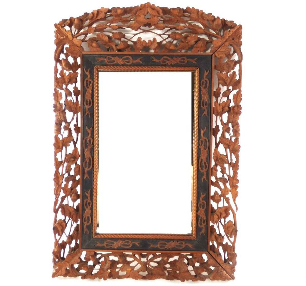 Fine Antique Chinese Hand Carved Sandalwood Frame Mirror