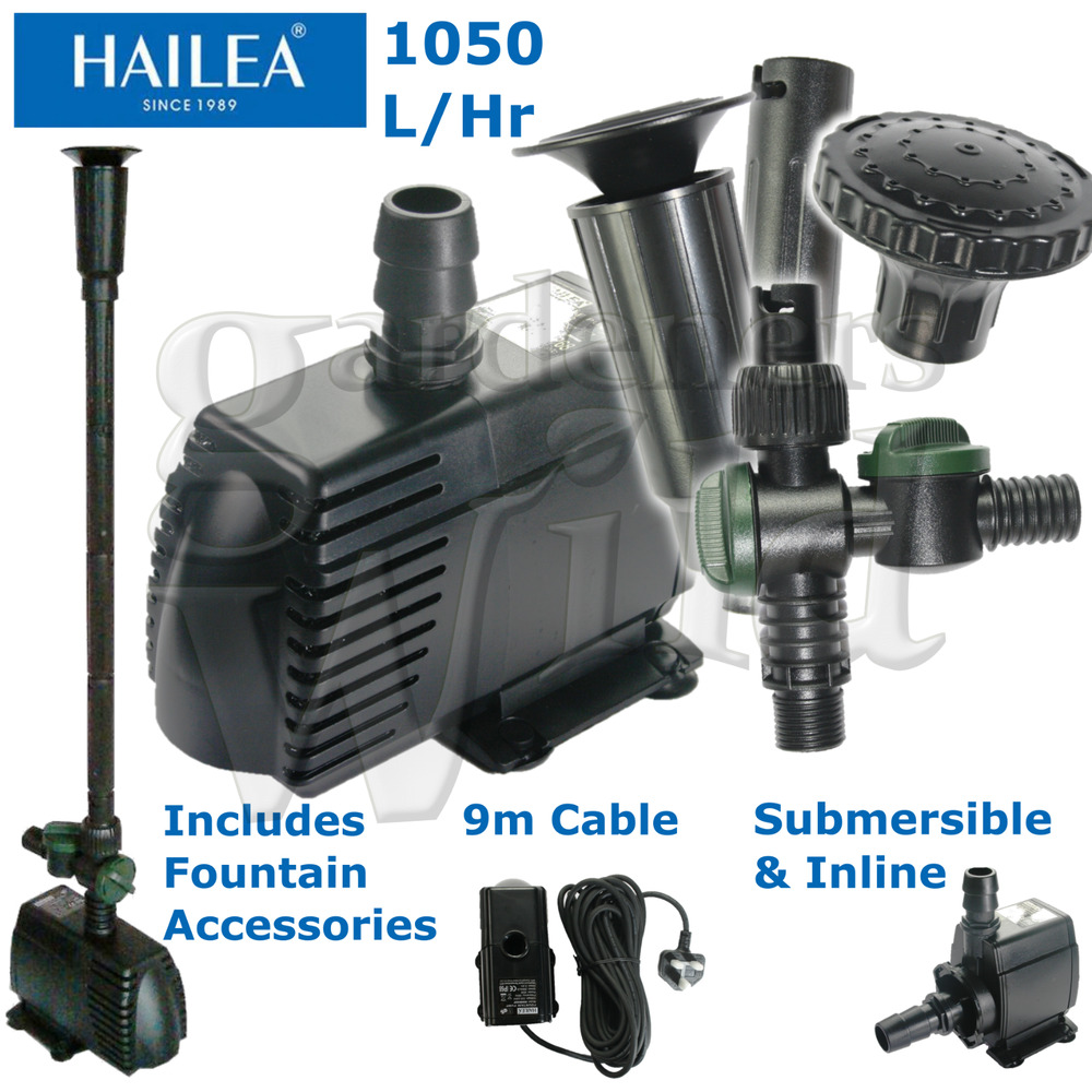 Hailea hx8810f fountain pump inline 1050l 9m cable fish for Fish water pump