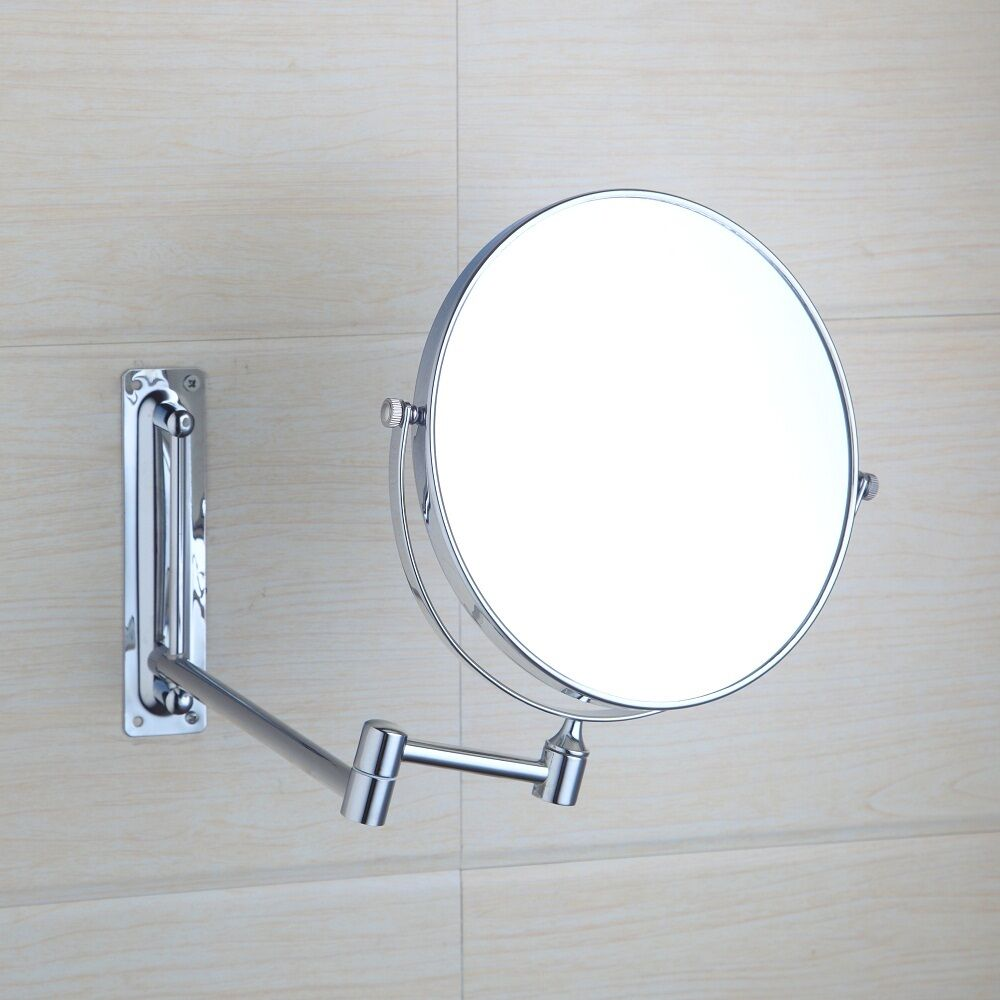 wall mounted mirror oval shape chrome wall mounted foldable make up mirror 28893