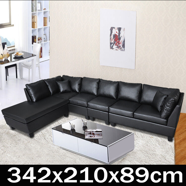 Corner Recliner Sofa Ebay: PU Leather Sofa Couch Lounge Corner Suite Furniture Chaise