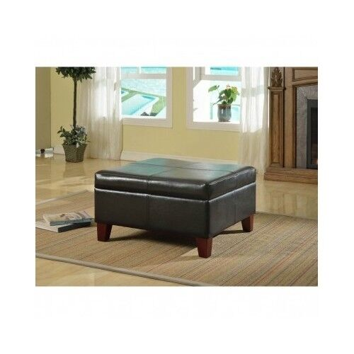 Large storage ottoman table black faux leather organizer for Living room organization furniture