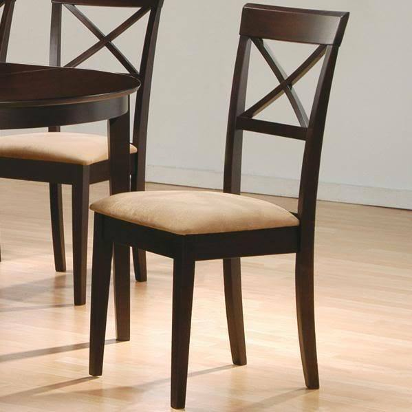 Cappuccino Finish Cross Back Dining Side Chair By Coaster