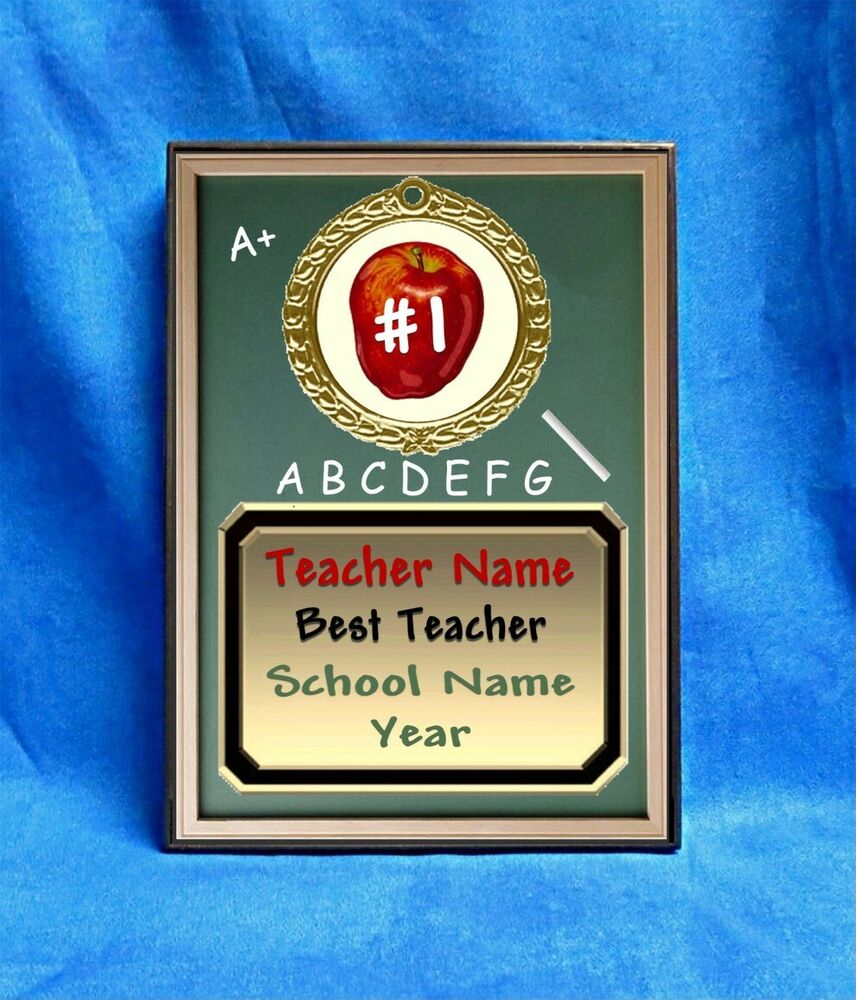 teacher best custom personalized award plaque gift apple blackboard school ebay. Black Bedroom Furniture Sets. Home Design Ideas