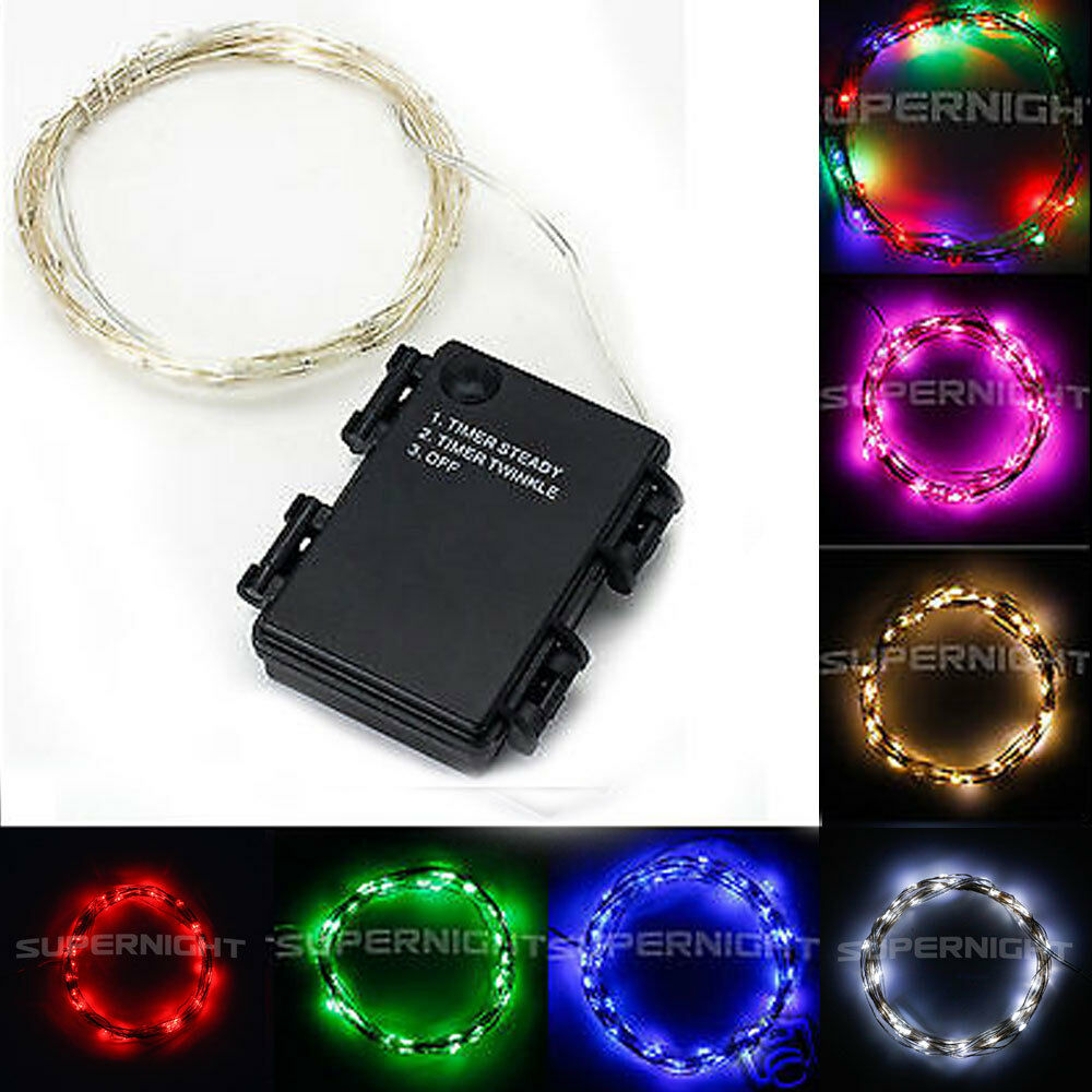 Battery Operated Led String Lights With Timer : SUPERNIGHT 5M 50led Battery Operated Automatic Timer String Lights Copper Wire eBay