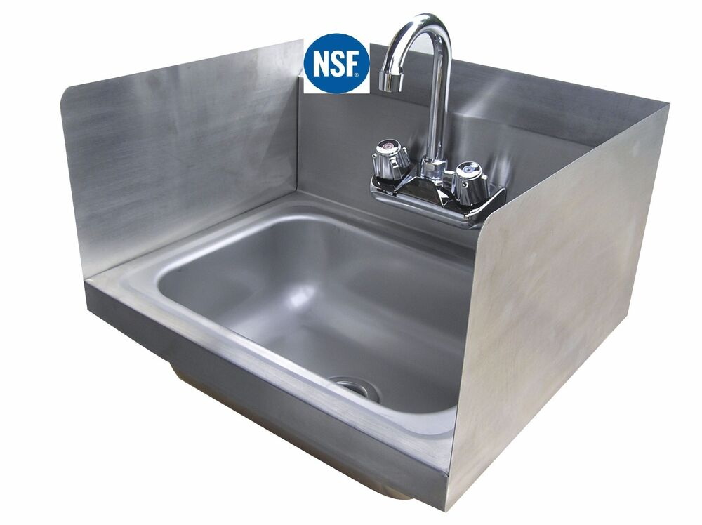 Commercial Stainless Steel Wall-Mount Hand Sink with Side Splashes 12 ...