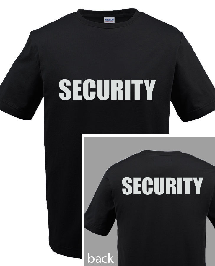 Security police staff t shirt custom screen printed on for Custom printed dress shirts