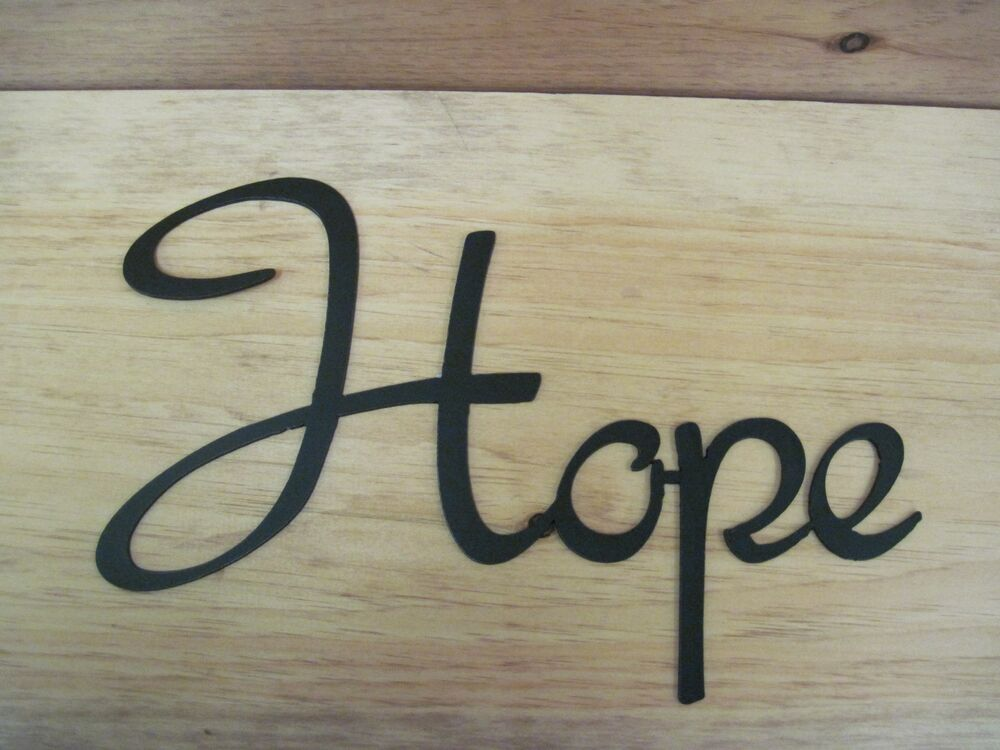 Hope- Black Wrought Iron Wall Art Metal Home Decor