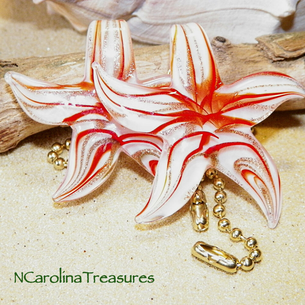 Large Glass Ceiling Fan Pulls: VINTAGE GLASS CEILING FAN SWITCH PULL STAR STARFISH RED