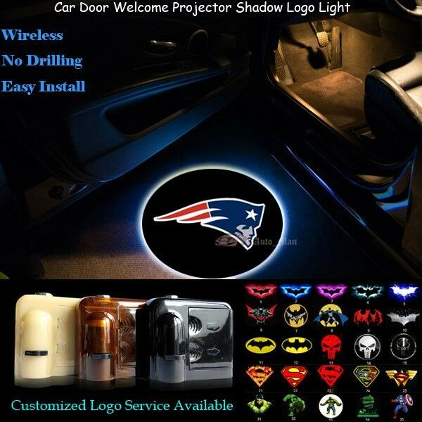 2x Car Door Wireless New England Patriots Logo Projector