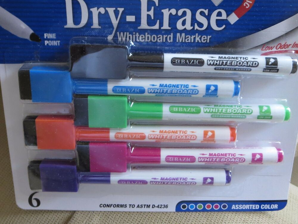 dry erase markers magnetic set of 6 whiteboard markers new white board markers ebay. Black Bedroom Furniture Sets. Home Design Ideas