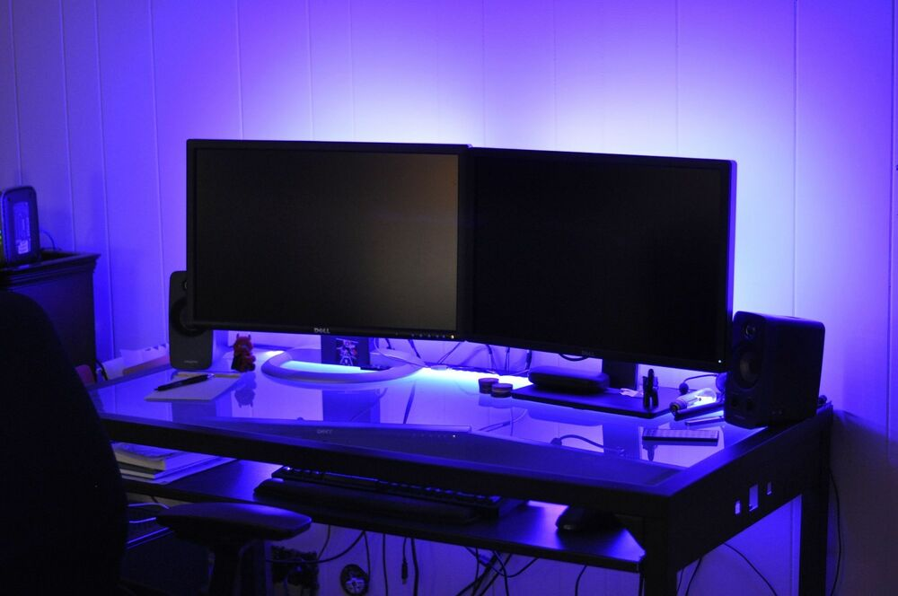 LED Gaming DESK lights ____ new 2016 __ dual monitor stand lighting