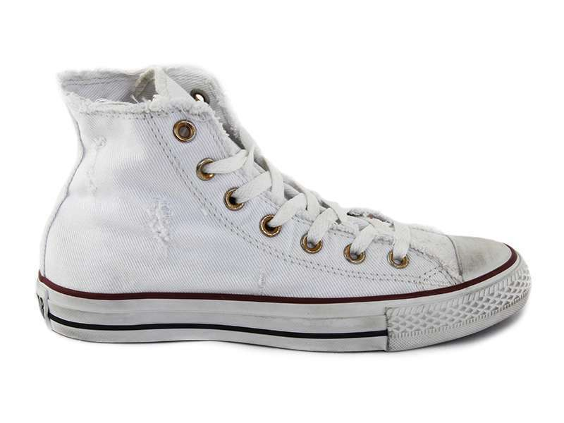 NUOVO ALL STAR CONVERSE Chucks HI 123159 Denim disstressed Sneaker Bianco