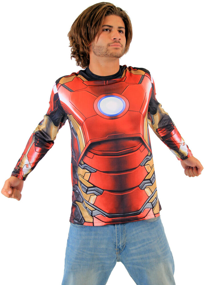 Adult men 39 s marvel comics iron man sublimated long sleeve for Iron man shirt for men