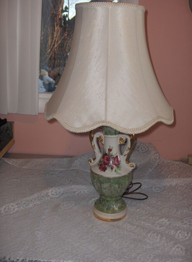 Vintage Hand Painted Green Table Lamp Red Roses Gold