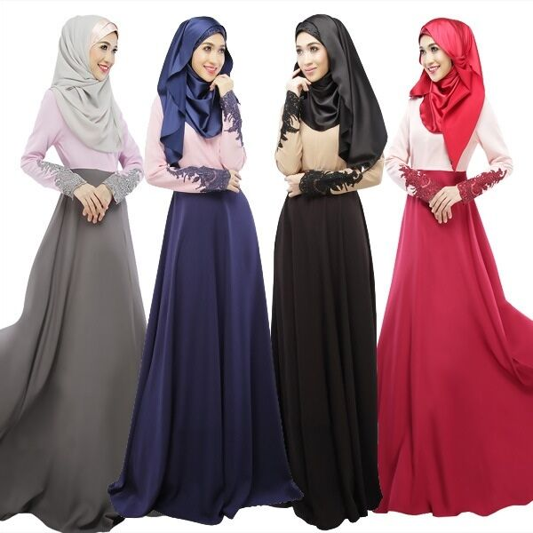 Women Abaya Koran Muslim Kaftan Hijab Burqa Lace Long Sleeve  Islamic Maxi Dress