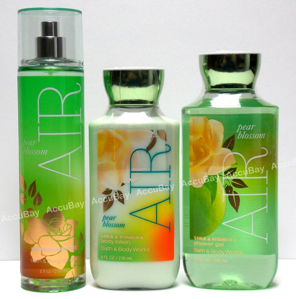 3pc Set Air Pear Blossom Fine Fragrance Mist Lotion Shower
