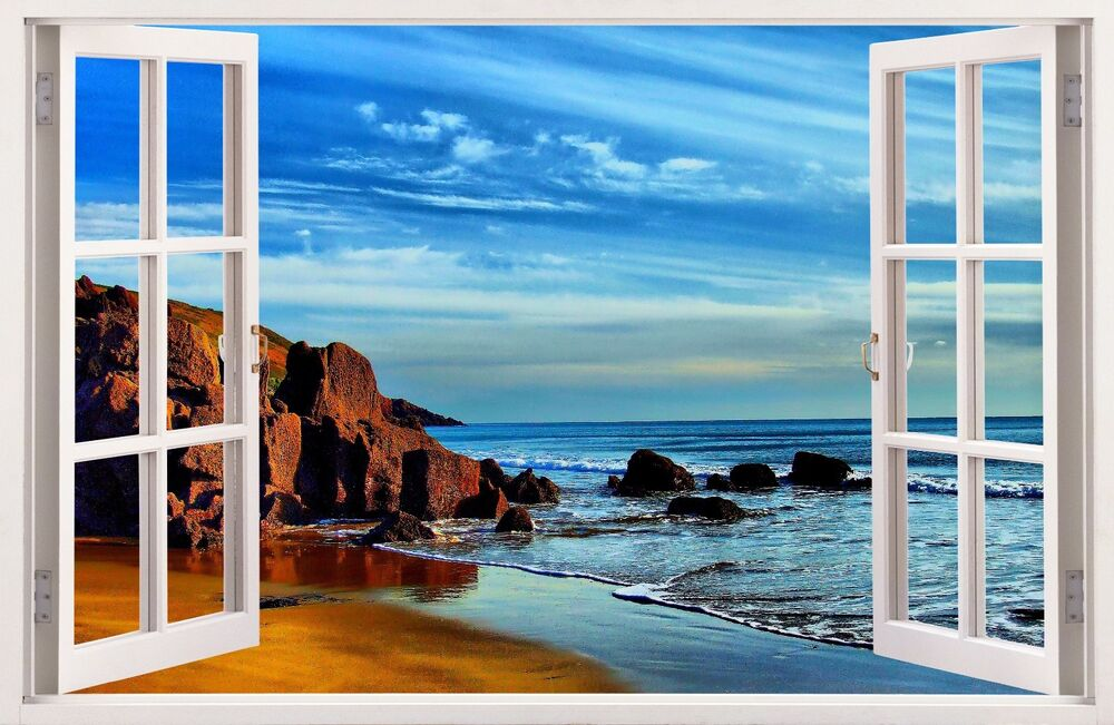 3d window wall decal wall sticker home decor exotic view for Bay view wall mural