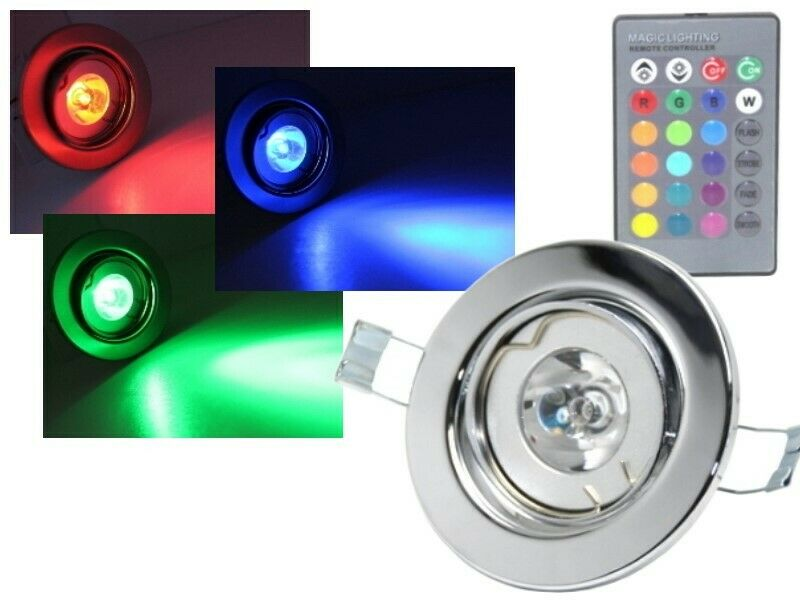 led rgb einbaustrahler 3w 230v chrom fernbedienung schwenkbar strahler spot ebay. Black Bedroom Furniture Sets. Home Design Ideas