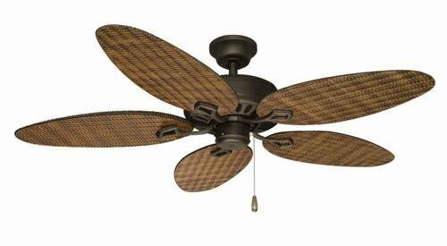 52 Quot Rattan Oil Rubbed Bronze Damp Rated Outdoor Ceiling