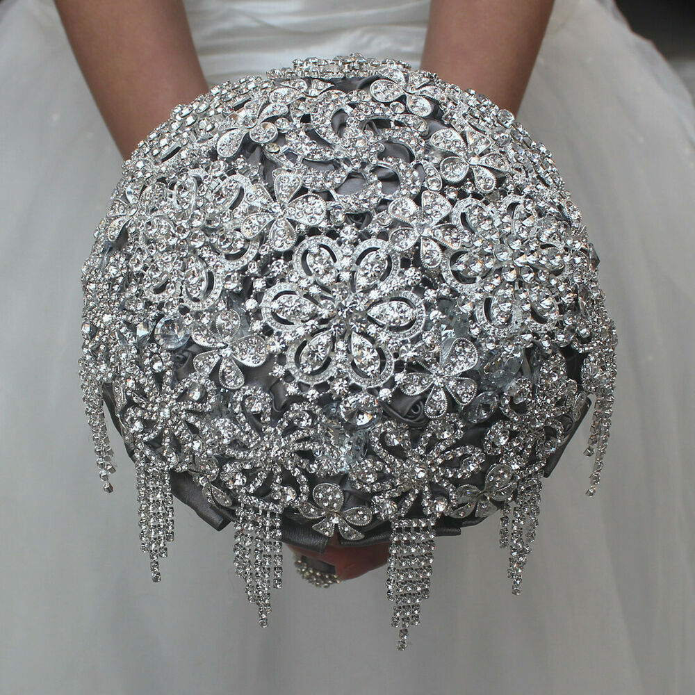 Bridal Flowers With Bling : Bling rhinestones wedding bouquet handmade bridal