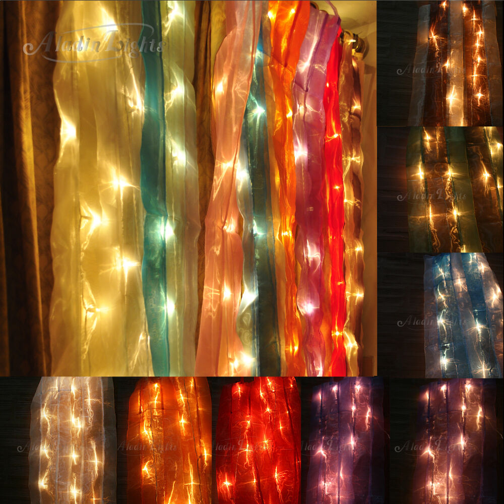 Gaiashine Organza Curtain With 35 Bulbs String Fairy