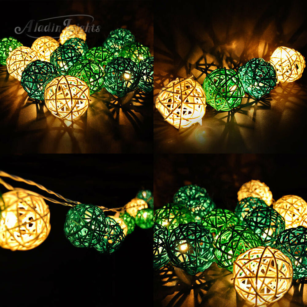 Gaiashine green rattan wicker balls string fairy lights for Decorating backyard with lights