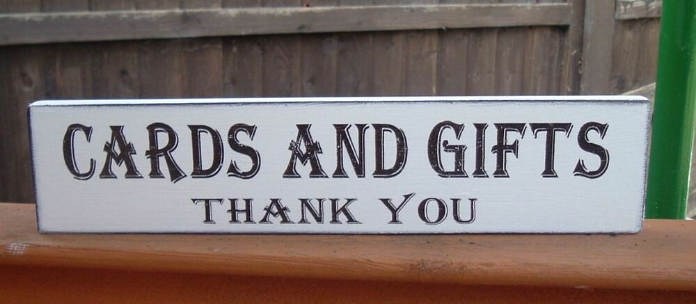 Wooden Wedding Cards Amp Gifts Free Standing Sign Shabby Vintage Top Table Plaque