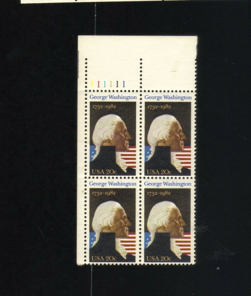 Block Of 4 20 Cent Stamps George Washington 1732 1982