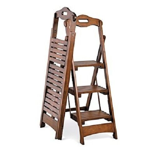 Wooden Folding Ladder Solid Wood Pine Step Stool Library