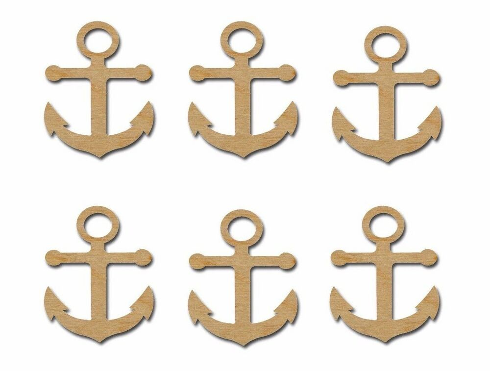 Anchor shape unfinished mini wooden craft cutouts 6 pcs for Wood cutouts for crafts
