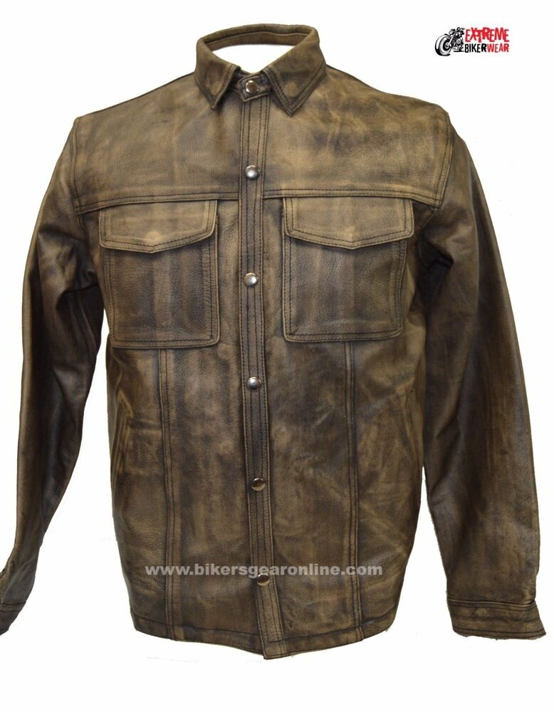 Men 39 s lightweight motorcycle leather shirt distressed for Mens shirts with leather