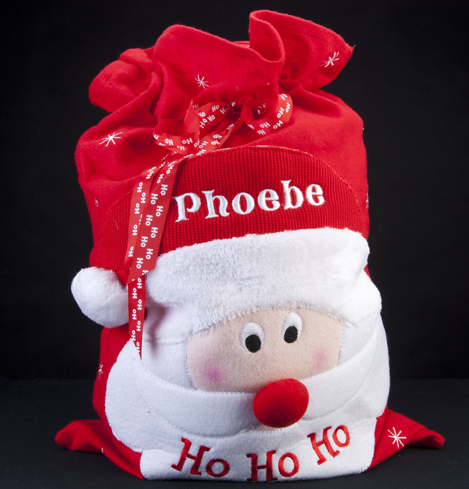 Personalised embroidered name deluxe christmas santa sack
