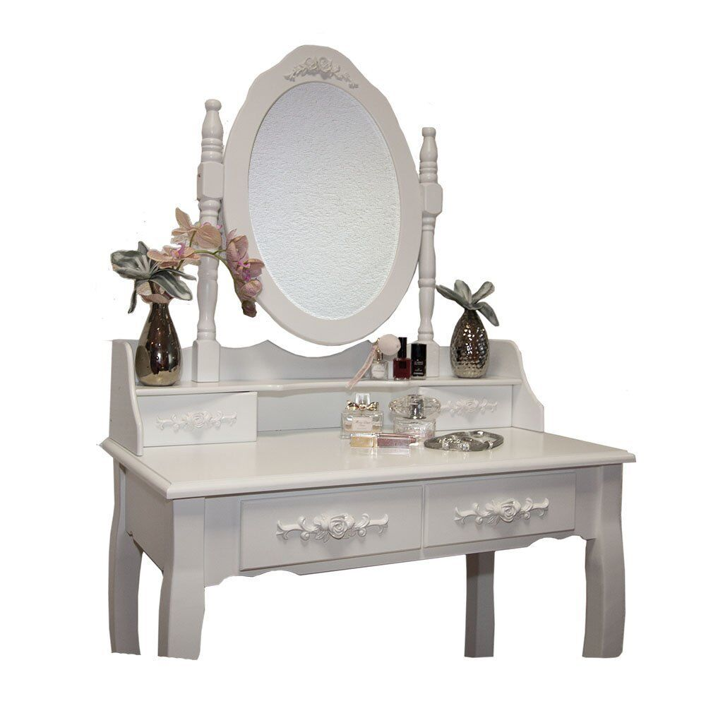 White rose dressing table set with adjustable oval mirror for Cheap dressing table with mirror