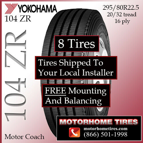 Motor home tires 22 5 295 80r22 5 tires includes shipping for Ebay motors shipping company