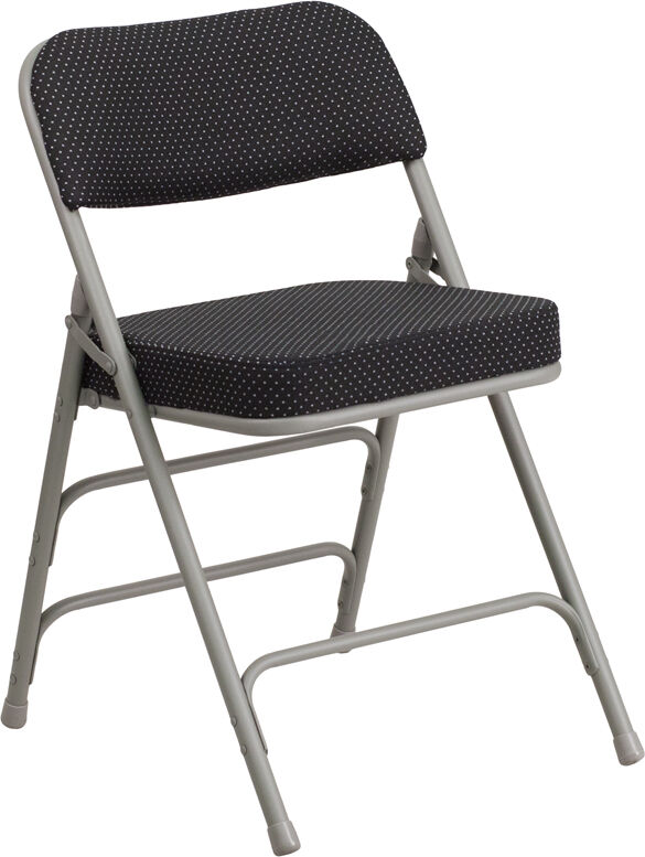 mercial Quality Heavy Duty Fabric Padded Black Pin Dot Steel Folding Chair