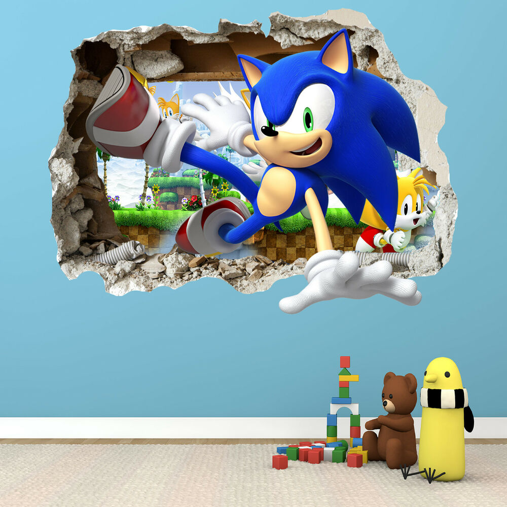 SONIC THE HEDGEHOG SMASHED WALL STICKER   BEDROOM BOYS GIRLS VINYL WALL ART    eBay. SONIC THE HEDGEHOG SMASHED WALL STICKER   BEDROOM BOYS GIRLS VINYL