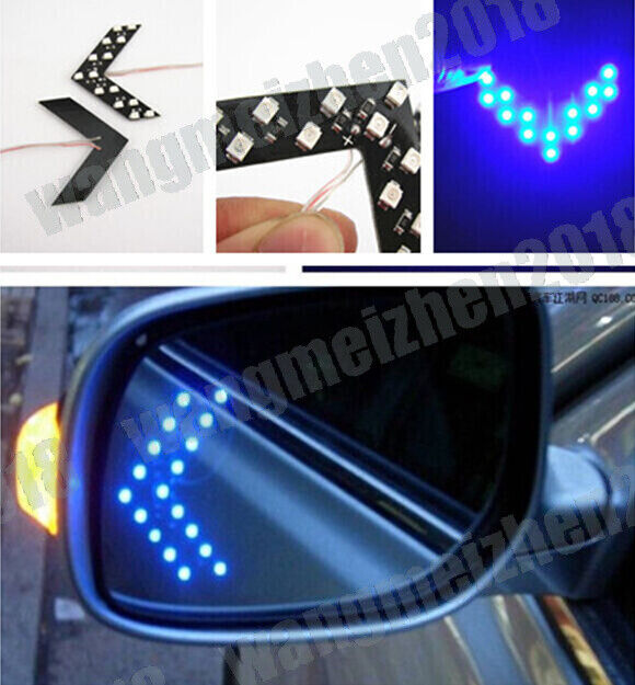 2x Blue 14 Smd Led Arrow Panels For Car Side Mirror Turn