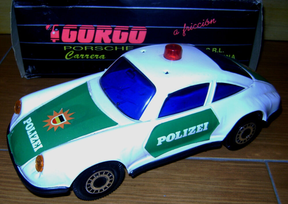 vintage porsche carrera polizei police tin friction car by. Black Bedroom Furniture Sets. Home Design Ideas