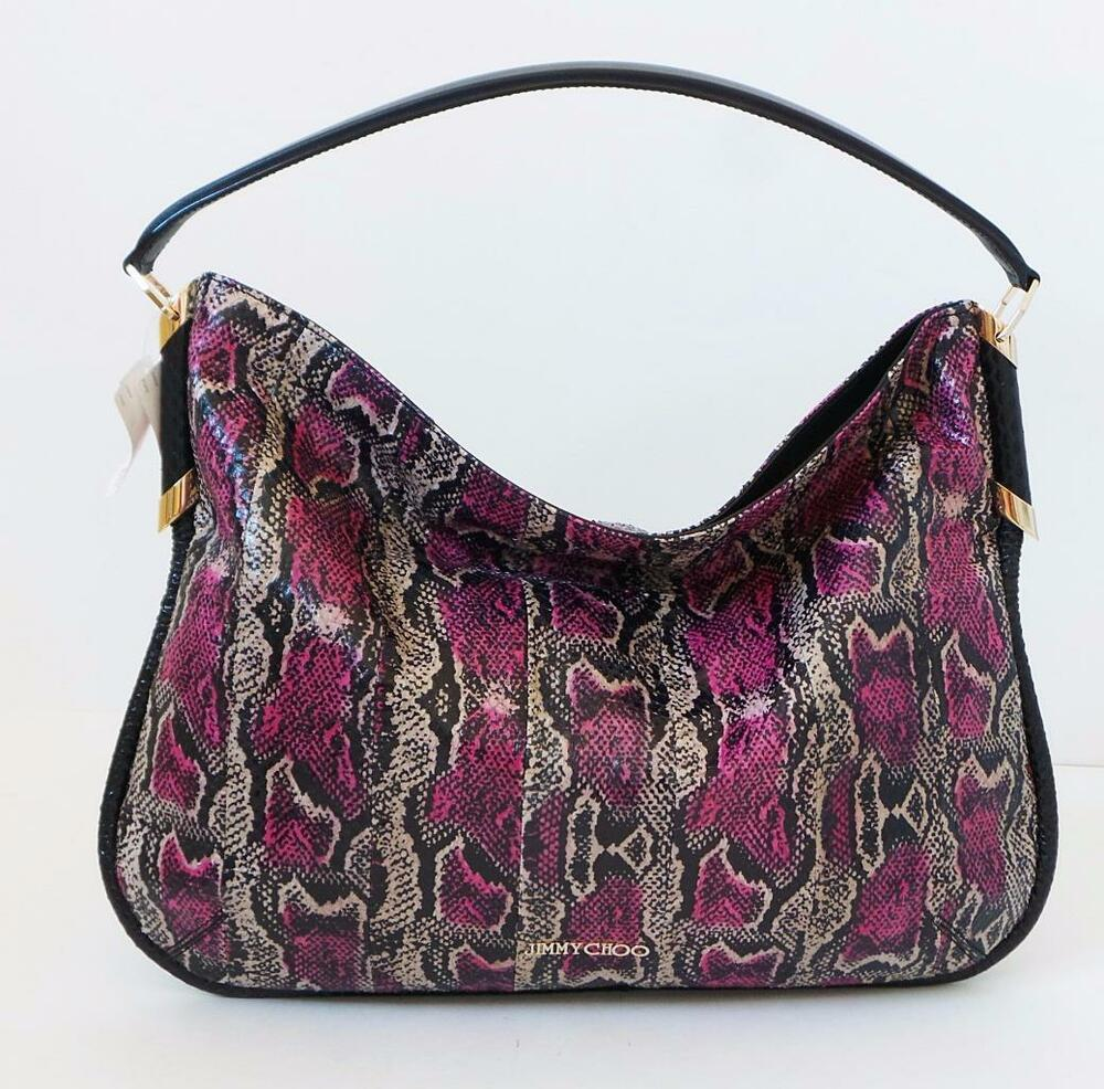 JIMMY CHOO Zoe Multicolor Snakeskin Hobo Bag Handbag Purse ...
