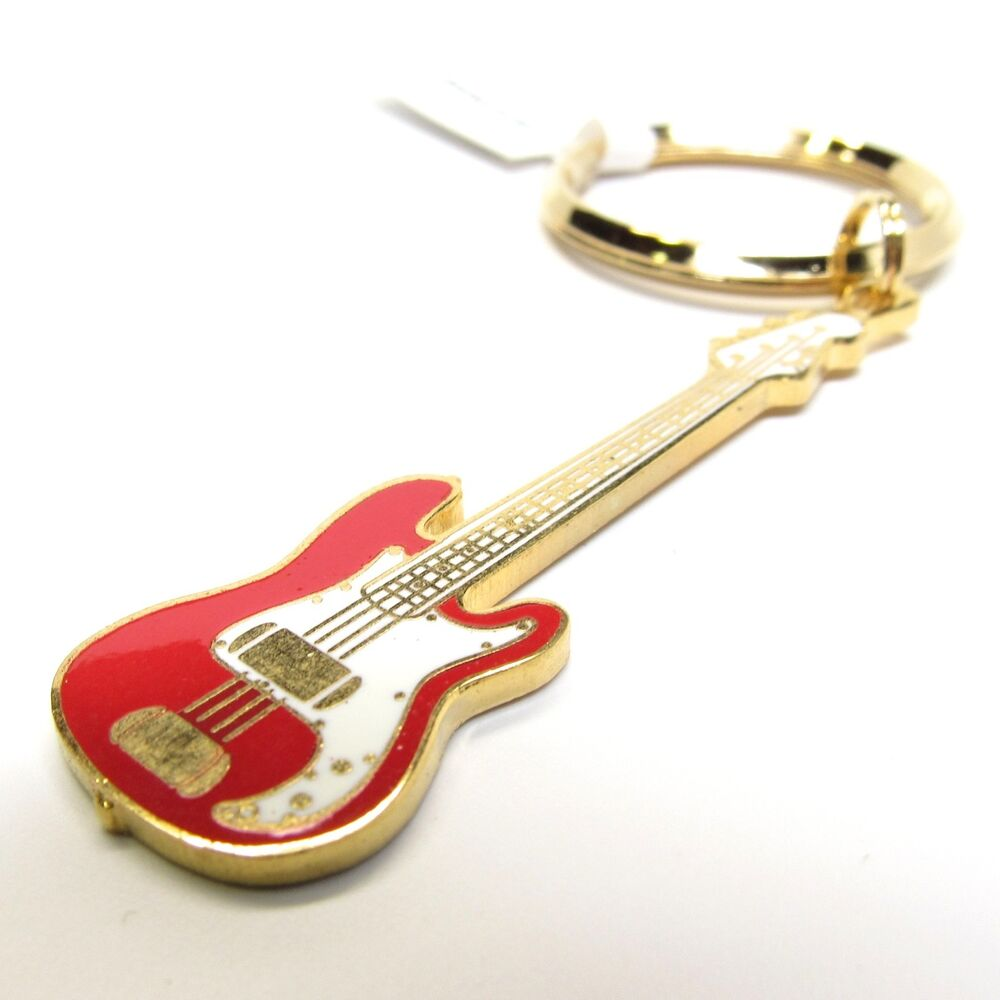 fender p bass electric guitar key chain 24k gold red nwt music gifts ebay. Black Bedroom Furniture Sets. Home Design Ideas